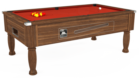 7ft Ascot Coin Operated in Dark Walnut with Hainsworth Smart Windsor Red cloth