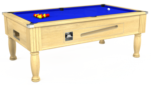 7ft Ascot Coin Operated in Light Oak with Standard Blue cloth