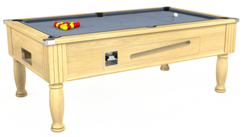7ft Ascot Coin Operated in Light Oak with Hainsworth Elite-Pro Bankers Grey cloth