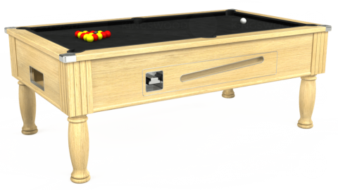 7ft Ascot Coin Operated in Light Oak with Hainsworth Elite-Pro Black cloth