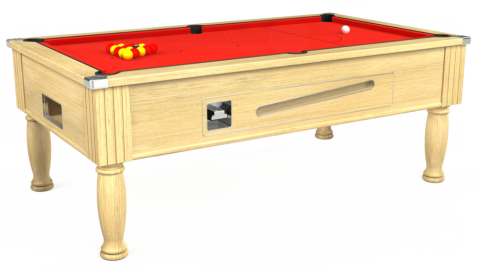 7ft Ascot Coin Operated in Light Oak with Hainsworth Elite-Pro Bright Red cloth