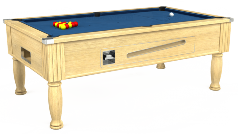 7ft Ascot Coin Operated in Light Oak with Hainsworth Elite-Pro Cadet Blue cloth