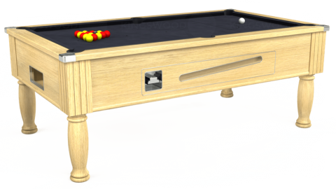 7ft Ascot Coin Operated in Light Oak with Hainsworth Elite-Pro Charcoal cloth