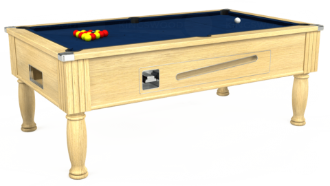 7ft Ascot Coin Operated in Light Oak with Hainsworth Elite-Pro Marine Blue cloth