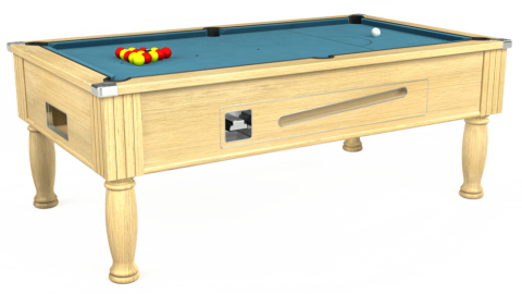7ft Ascot Coin Operated in Light Oak with Hainsworth Elite-Pro Powder Blue cloth