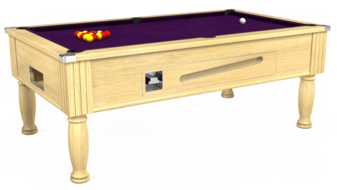 7ft Ascot Coin Operated in Light Oak with Hainsworth Elite-Pro Purple cloth