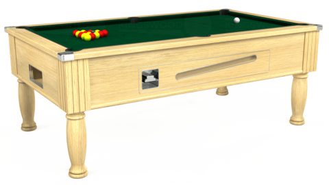 7ft Ascot Coin Operated in Light Oak with Hainsworth Elite-Pro Spruce cloth
