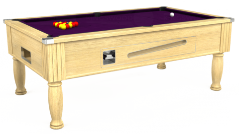 7ft Ascot Coin Operated in Light Oak with Hainsworth Smart Purple cloth
