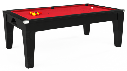 7ft Avant Guarde Dining in Black with Standard Red cloth