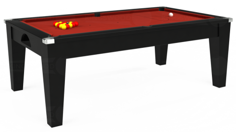 6ft Avant Guarde Dining in Black with Hainsworth Elite-Pro Red cloth