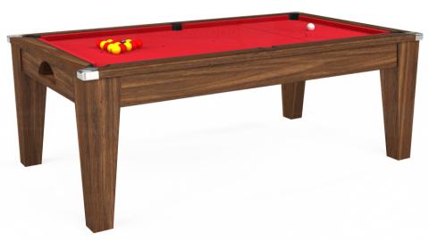 7ft Avant Guarde Dining in Dark Walnut with Standard Red cloth