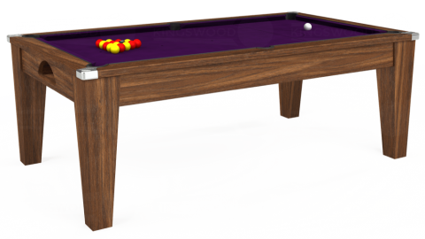 7ft Avant Guarde Dining in Dark Walnut with Hainsworth Elite-Pro Purple cloth