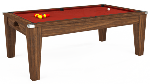 6ft Avant Guarde Dining in Dark Walnut with Hainsworth Elite-Pro Red cloth
