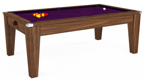 7ft Avant Guarde Dining in Dark Walnut with Hainsworth Smart Purple cloth