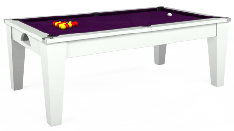 7ft Avant Guarde Dining in White with Hainsworth Smart Purple cloth