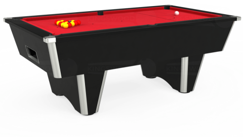 7ft Elite Free Play in Black with Standard Red cloth