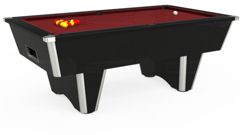 6ft Elite Free Play in Black with Hainsworth Elite-Pro Burgundy cloth