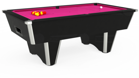 7ft Elite Free Play in Black with Hainsworth Elite-Pro Fuchsia cloth