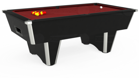 7ft Elite Free Play in Black with Hainsworth Smart Maroon cloth
