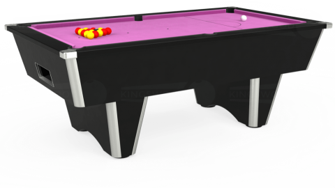 7ft Elite Free Play in Black with Hainsworth Smart Pink cloth