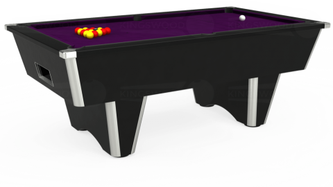 7ft Elite Free Play in Black with Hainsworth Smart Purple cloth