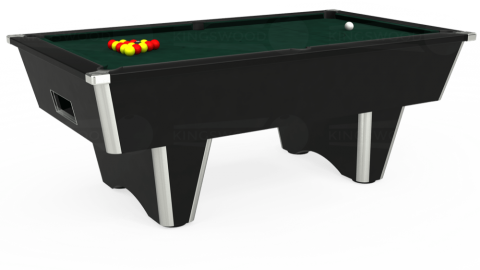 7ft Elite Free Play in Black with Hainsworth Smart Ranger Green cloth