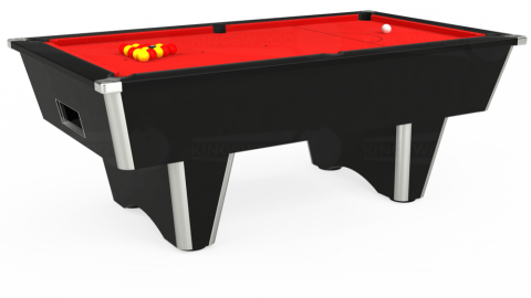 7ft Elite Free Play in Black with Hainsworth Smart Red cloth