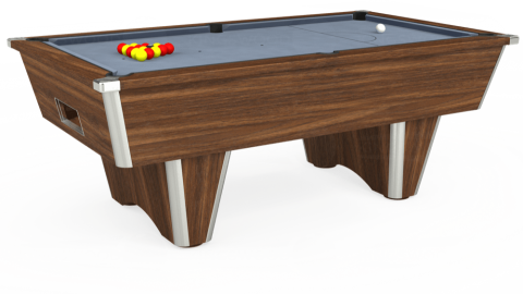 7ft Elite Free Play in Dark Walnut with Hainsworth Elite-Pro Bankers Grey cloth