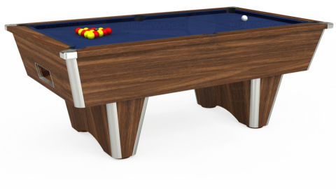 7ft Elite Free Play in Dark Walnut with Hainsworth Smart Royal Navy cloth