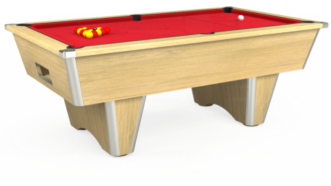 7ft Elite Free Play in Light Oak with Standard Red cloth