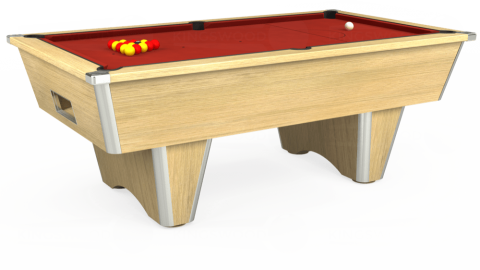 7ft Elite Free Play in Light Oak with Hainsworth Elite-Pro Red cloth