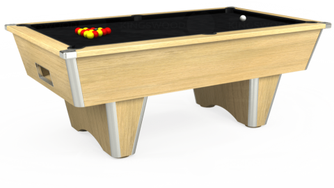 7ft Elite Free Play in Light Oak with Hainsworth Smart Black cloth