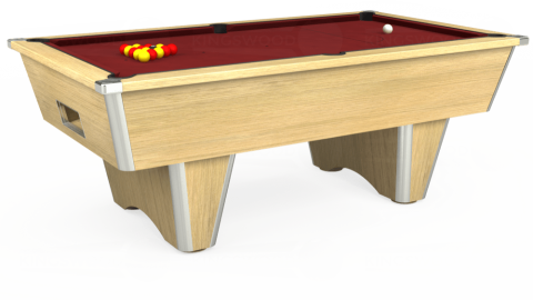 7ft Elite Free Play in Light Oak with Hainsworth Smart Maroon cloth