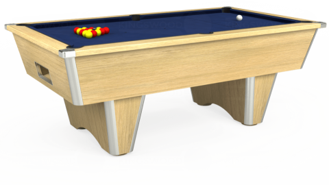 7ft Elite Free Play in Light Oak with Hainsworth Smart Navy cloth