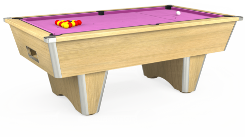 7ft Elite Free Play in Light Oak with Hainsworth Smart Pink cloth