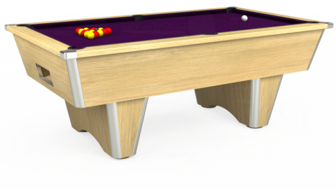 7ft Elite Free Play in Light Oak with Hainsworth Smart Purple cloth