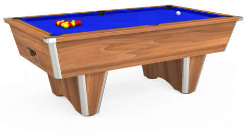 7ft Elite Free Play in Light Walnut with Standard Blue cloth