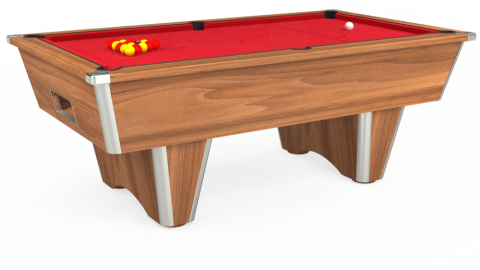 7ft Elite Free Play in Light Walnut with Standard Red cloth