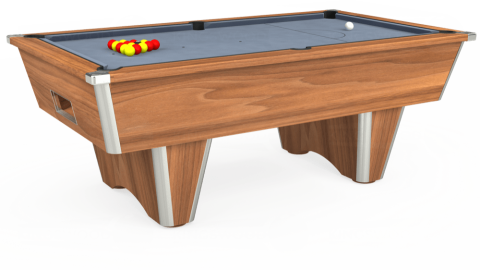 7ft Elite Free Play in Light Walnut with Hainsworth Elite-Pro Bankers Grey cloth