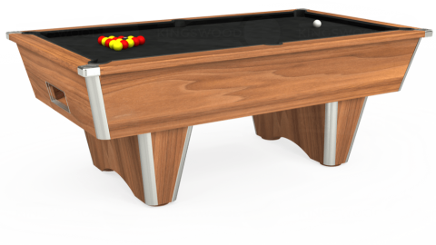 6ft Elite Free Play in Light Walnut with Hainsworth Elite-Pro Black cloth