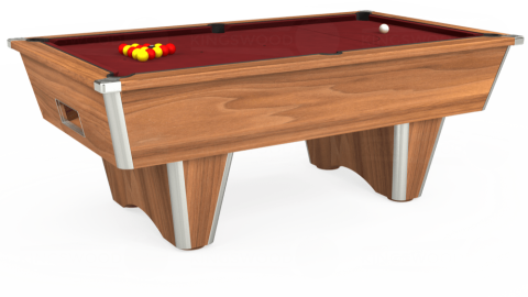 6ft Elite Free Play in Light Walnut with Hainsworth Elite-Pro Burgundy cloth