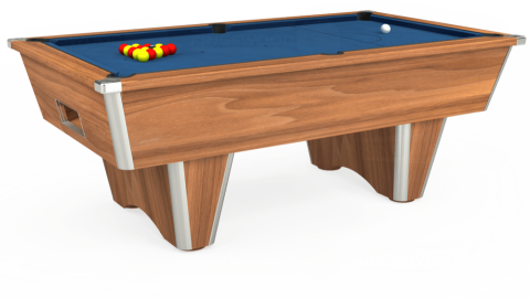 7ft Elite Free Play in Light Walnut with Hainsworth Elite-Pro Cadet Blue cloth