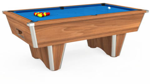 7ft Elite Free Play in Light Walnut with Hainsworth Elite-Pro Electric Blue cloth