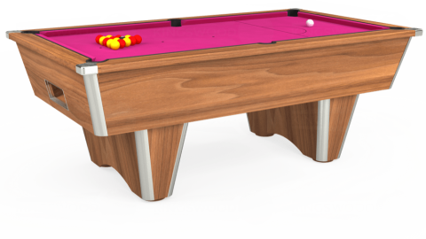 7ft Elite Free Play in Light Walnut with Hainsworth Elite-Pro Fuchsia cloth