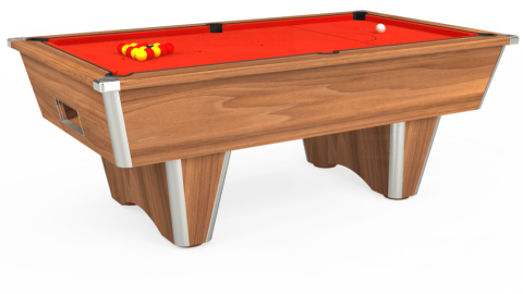 7ft Elite Free Play in Light Walnut with Hainsworth Elite-Pro Orange cloth