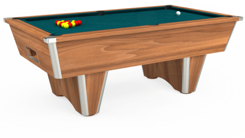 7ft Elite Free Play in Light Walnut with Hainsworth Elite-Pro Petrol Blue cloth