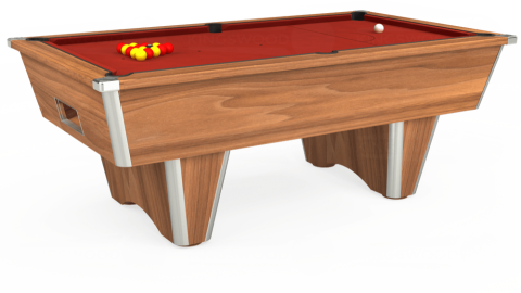 7ft Elite Free Play in Light Walnut with Hainsworth Elite-Pro Red cloth