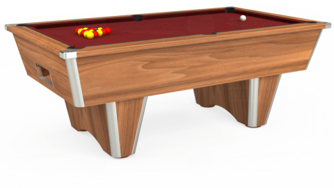 7ft Elite Free Play in Light Walnut with Hainsworth Smart Maroon cloth