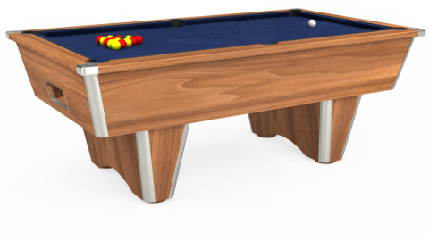 7ft Elite Free Play in Light Walnut with Hainsworth Smart Navy cloth