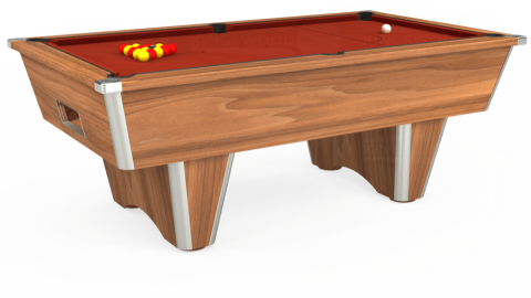 7ft Elite Free Play in Light Walnut with Hainsworth Smart Paprika cloth